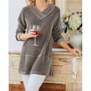 Soft Surroundings Velour V-Neck Pullover Gray Top